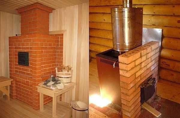 Банные дровяные печи бывают кирпичные и железные
