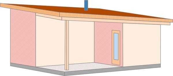Проект бани с односкатной крышей и небольшой террасой