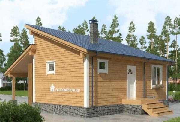Проект бани с односкатной крышей и навесом для машины
