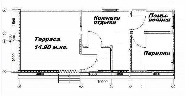 Планировка бани 10*4 для русской парилки