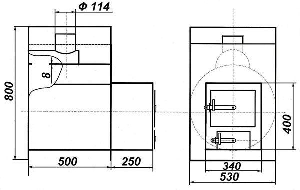 "Чертеж печи ""Жара-стандарт 500"" в разрезе"