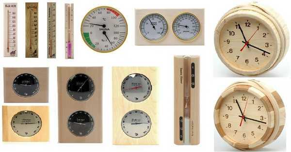 Термометры, гигрометры и часы тоже относятся к банным аксессуарам