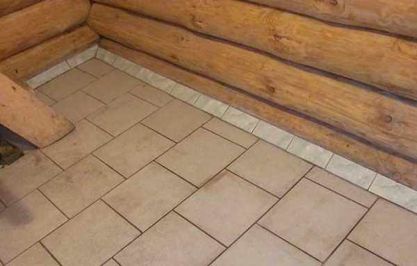 Пол в бане, выложенный керамической плиткой