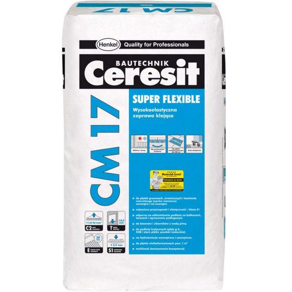 Для крепления керамической и керамогранитных плиток подойдет клей Ceresit CM 17