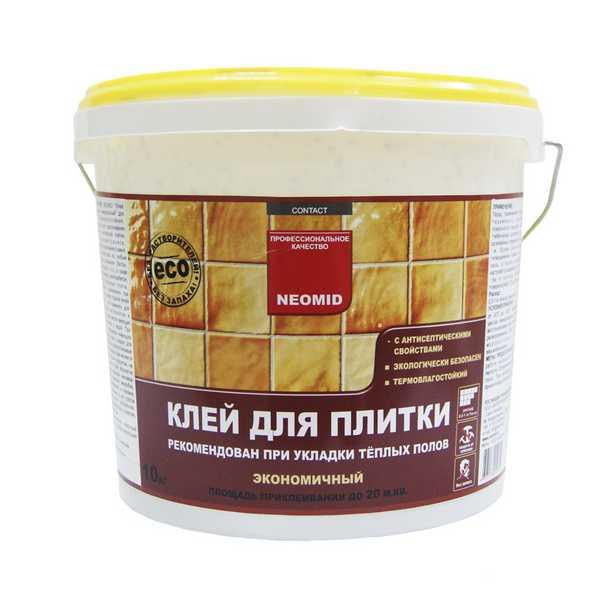 Готовый клей для плитки NEOMID - 10 кг хватает для приклеивания около 20 квадратных метров плитки