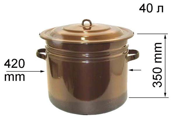 Эмалированная кастрюля емкостью 40 л.. Полностью подойдет в качестве бака для маленький баньки
