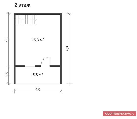 Планировка второго (мансардного) этажа бани