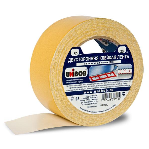 Двусторонняя клейкая лента UNIBOB на основе хлопчато-бумажной ткани. Клеевой слой на основе синтетического каучука, что обеспечивает высокое качество склеивания полотен паро-гидроизоляции