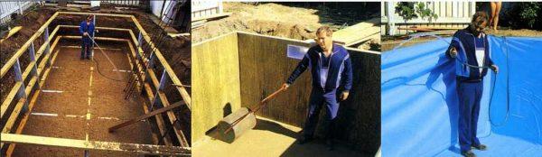 Еще один вариант деревянного каркасного бассейна
