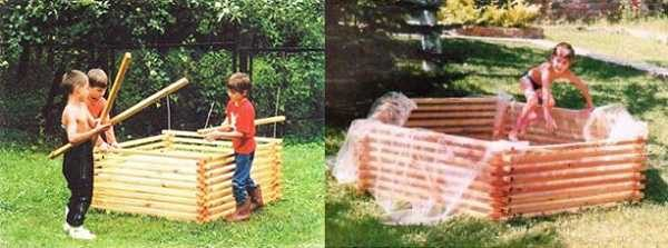 Сборный деревянный бассейн из реек