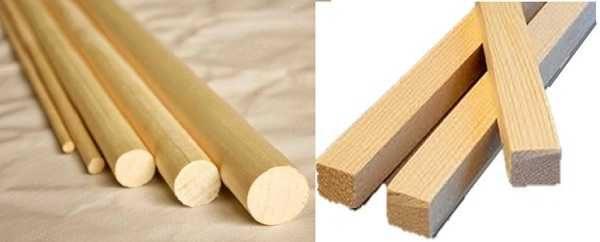 Рейки можно использовать круглые или квадратные