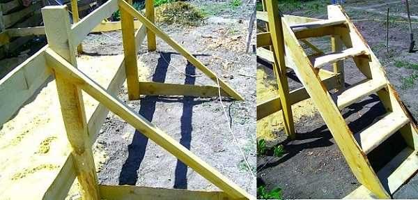 Стойки укрепляют планками, поставленными под уклоном