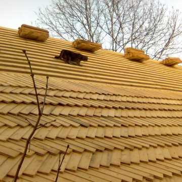 Так может выглядеть крытая гонтом крыша