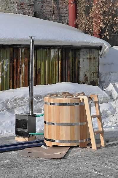 Купель с подогревом - печка выносная, внутри только теплообменник