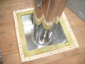 Проход дымоотводной трубы через потолок бани нужно делать по всем правилам пожарной безопасности
