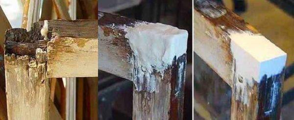 Сгнивший участок оконной рамы можно восстановить шпаклевкой с армирующим волокном