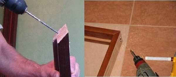 При сборке дверной коробки сверлим отверстия под саморезы - так древесина или МДФ не растрескаются