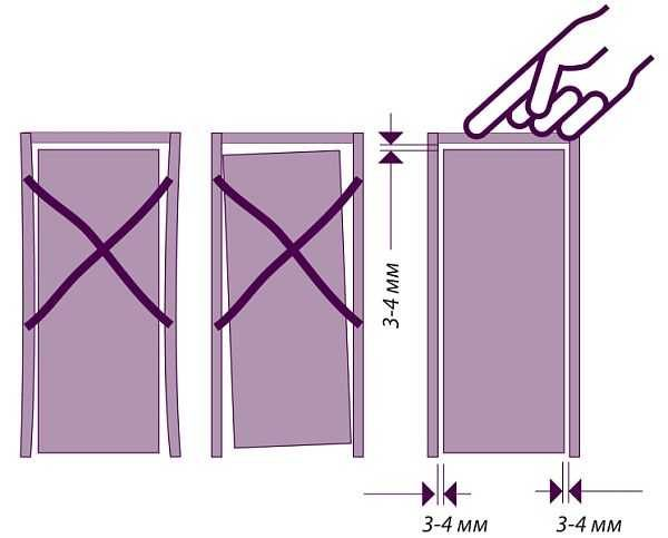 При установке дверной коробки и навешивании дверного полотна принципиально выставить все ровно: и стойки и полотно