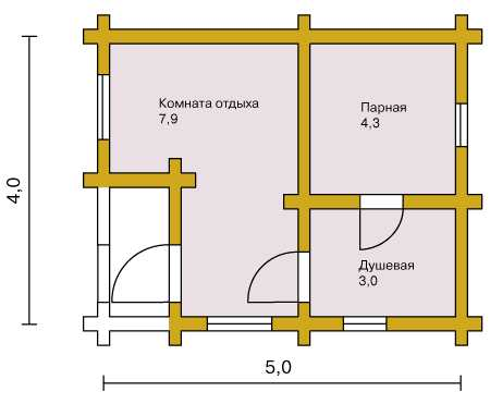 План сруба для бани  5*4