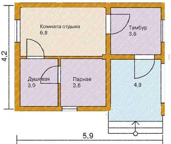 Проект кирпичной бани 6*4 с верандой и тамбуром