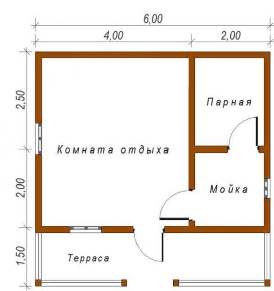 Очередной проект бани 6 на 6, но с большой комнатой отдыха