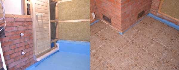 В моечной и парилке на полу можно по стяжке сделать обмазочную гидроизоляцию (резиновой краской для бассейнов), а сверху положить плитку