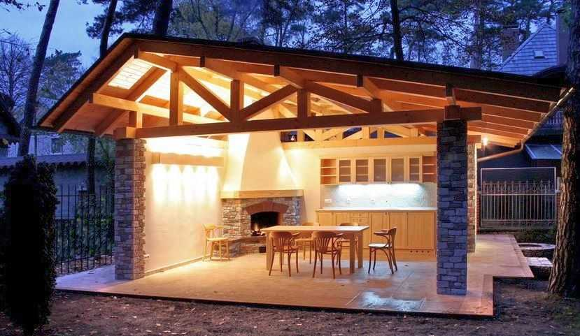 Установка барбекю на террасе электрокамин с эффектом потрескивания дров
