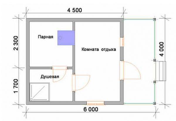 Проекты бани 4 +на 4 с террасой на отдельном столбчатом фундаменте