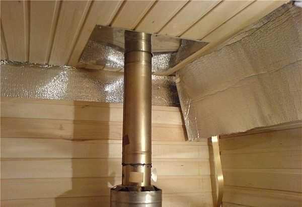 Чтобы обеспечить безопасность прохода дымовой трубы через потолок делают специальную разделку