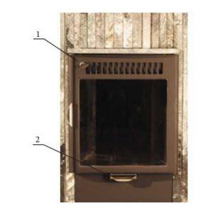 Регулируемая заслона есть над дверцей (1) и под ней (2)