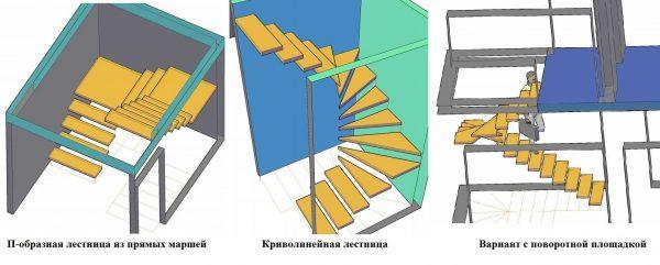 Разные типы лестниц на второй этаж