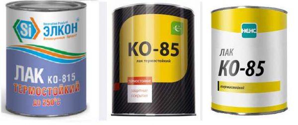 Теплостойкий лак различных производителей. Его можно использовать для защиты кирпичной банной печи от воды