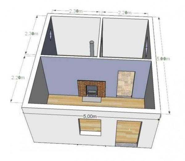 Один из примеров планировки бани