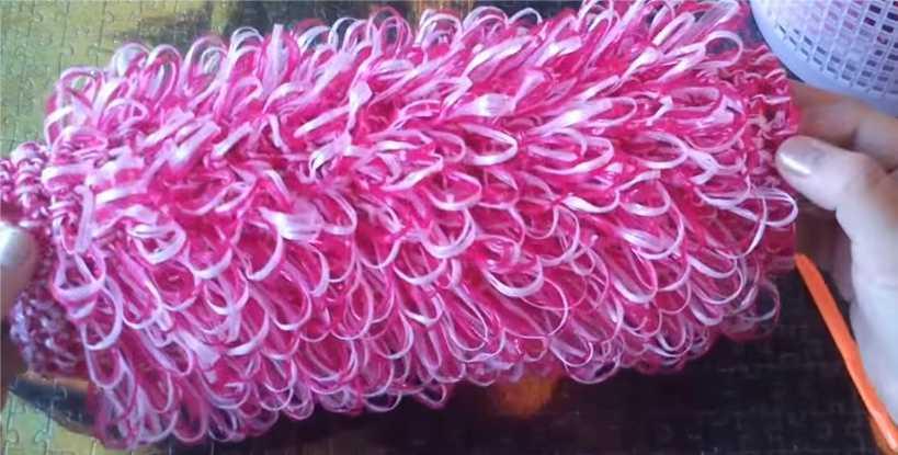 Вязание мочалки кругом