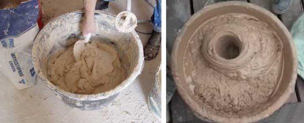 Смесь глиняного раствора - густая паста