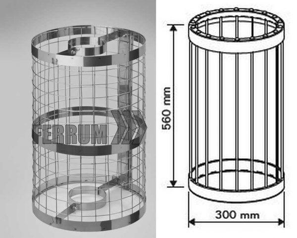 Конструкция сетки для камней на трубу