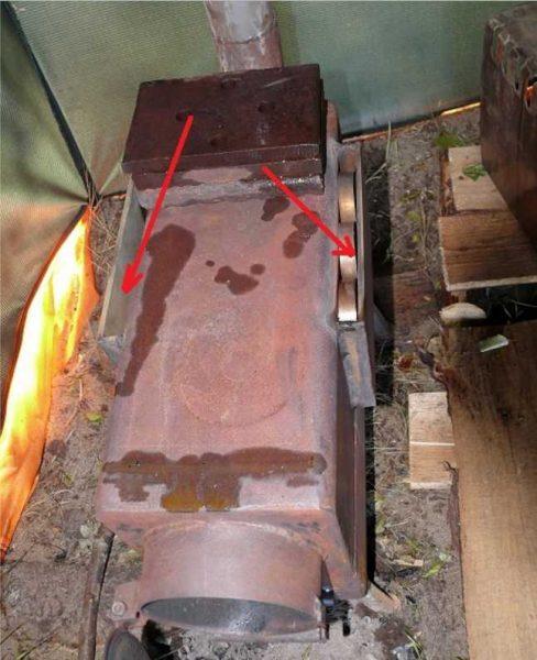 Доработанная самодельная печь для переносной бани