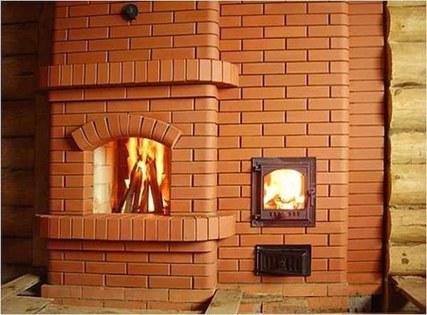 Банная печь из кирпича с камином - мечта