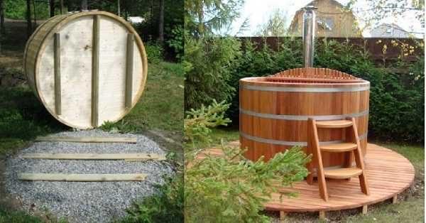 При установке деревянной купели на улице, необходимо обеспечить хорошую вентиляцию днища