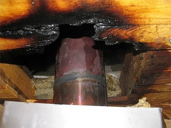 Нагрев потолка в бане привел к возгоранию