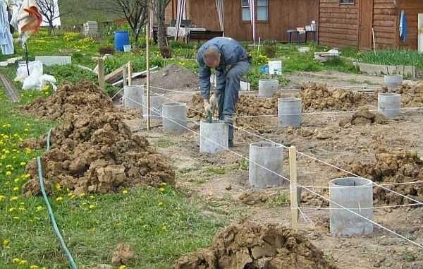Начинается все с земельных работ - снятия грунта, потом нужно разметить план дома колышками и шнурами