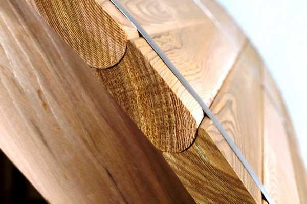 Такой формы соединение удобно при изготовлении бани-бочки