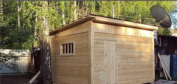 Проект маленькой бани под односкатной крышей