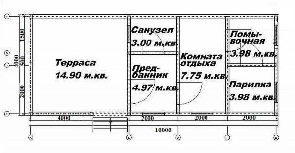 Планировка бани 10*4 с террасой под односкатной крышей