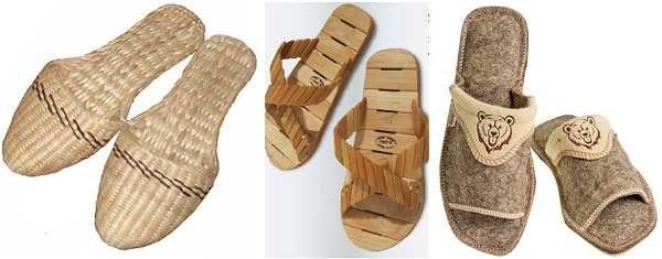 Банная обувь может быть из разных материалов