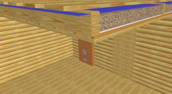 Так выглядит этот вариант утепления потолка в разрезе