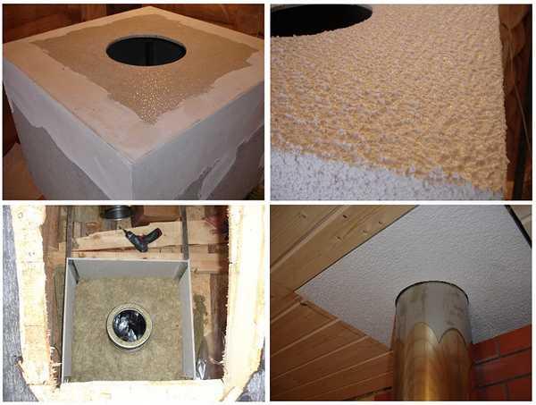 Один из вариантов устройства прохода дымохода через потолок. Тут использован самодельный проходной узел из минерита, заполненный базальтовой ватой