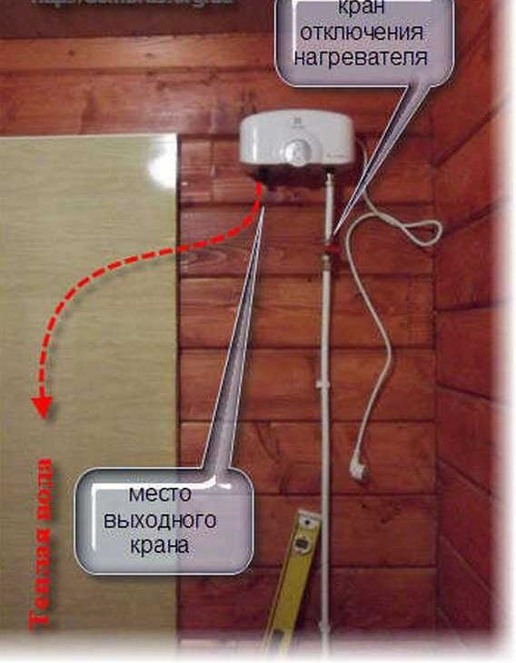 Как подключить проточный электрический водонагреватель в бане