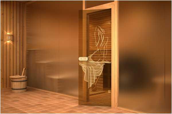 Стеклянные двери в парилку с рисунком фото