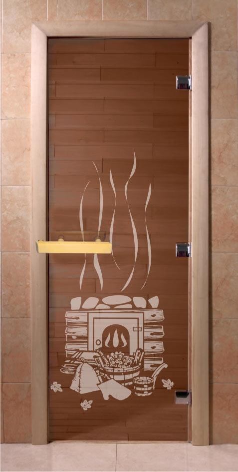 """Стеклянная дверь DoorWood """"Бронза-Банька"""" с магнитной защелкой. Цена около 6,5 тыс. рублей"""